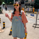 Dress Summer of 2019 blue S,M,L,XL,2XL,3XL,4XL,5XL Mid length dress singleton  Sleeveless commute One word collar Loose waist Solid color Socket A-line skirt other straps 18-24 years old Type A Other / other Korean version Embroidery, pocket 71% (inclusive) - 80% (inclusive) cotton