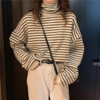 Women's large Winter 2020 Off white, black M [recommended 90-110 kg], l [recommended 110-120 kg], XL [recommended 120-140 kg], 2XL [recommended 140-155 Jin], 3XL [155-170 Jin recommended] sweater singleton  commute Socket Long sleeves stripe High collar routine 18-24 years old 30% and below