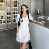 Women's large Spring 2021 Dress commute thin Condom Short sleeve Solid color Korean version square neck cotton routine Three dimensional cutting routine 18-24 years old 31% (inclusive) - 50% (inclusive) Short skirt Ruffle Skirt white