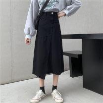 Women's large Autumn 2020 Denim black S [recommended 80-100 Jin], m [recommended 100-110 Jin], l [recommended 110-120 Jin], XL [recommended 120-140 Jin], 2XL [recommended 140-160 Jin], 3XL [recommended 160-180 Jin] skirt commute Solid color Korean version cotton pocket Medium length