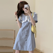 Women's large Summer 2021 blue L [recommended 90-120 Jin], XL [120-140 Jin], 2XL [140-160 Jin recommended], 3XL [160-180 Jin recommended], 4XL [180-200 Jin recommended] Dress singleton  commute thin Short sleeve Solid color Korean version square neck Others, cotton Three dimensional cutting pocket
