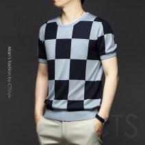 T-shirt Business gentleman blue routine M,L,XL,XXL,XXXL,XXXXL,XXXXXL Others Short sleeve Crew neck standard daily summer youth Business Casual 2021
