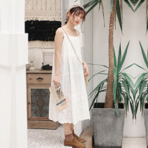 Dress Spring 2020 Average size longuette singleton  Sweet Loose waist Solid color Socket A-line skirt camisole Embroidery, lace More than 95% cotton Mori