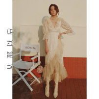 Dress Spring 2021 Figure color (spot), figure color (pre-sale 4.15-4.22 delivery) S,M,L longuette singleton  Long sleeves commute High waist Solid color zipper A-line skirt pagoda sleeve Others 18-24 years old Type A since then Retro More than 95% nylon