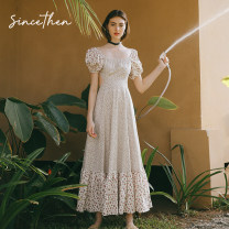 Dress Spring 2020 Daily (spot), holiday (spot) S,M,L longuette singleton  Short sleeve commute square neck High waist Decor zipper Big swing puff sleeve Others 18-24 years old Type A since then Retro CQ191071 More than 95% cotton