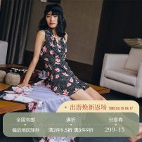 Dress Summer of 2018 Decor (in stock) S,M,L Short skirt singleton  Sleeveless commute V-neck Broken flowers 18-24 years old since then Retro DQ0228 polyester fiber
