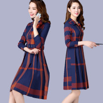 Dress Autumn of 2018 Orange blue M L XL 2XL 3XL 4XL Middle-skirt singleton  three quarter sleeve commute stand collar High waist lattice Single breasted A-line skirt routine Others 35-39 years old Type A Korean version Lace up print 088 other