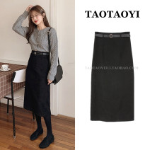 skirt Winter 2020 S,M,L,XL black Mid length dress Versatile High waist A-line skirt Solid color Type H 18-24 years old 51% (inclusive) - 70% (inclusive) Wool Flocking, zipper