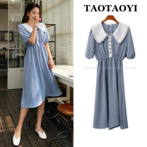 Dress Summer 2021 sky blue S,M,L,XL Mid length dress singleton  Short sleeve Sweet Doll Collar Elastic waist Solid color Single breasted A-line skirt puff sleeve Others 18-24 years old Type A Stitching, buttons, lace 71% (inclusive) - 80% (inclusive) polyester fiber college