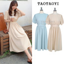 Dress Summer 2021 Apricot, lake blue S,M,L,XL Mid length dress singleton  Short sleeve commute Crew neck Elastic waist Solid color A button Big swing routine Others 18-24 years old Type A Other / other Korean version Bowknot, tuck, lace, strap, button 71% (inclusive) - 80% (inclusive) polyester fiber