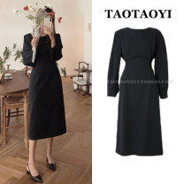 Dress Autumn 2020 black S,M,L Mid length dress singleton  Long sleeves commute Crew neck High waist Solid color zipper A-line skirt shirt sleeve Others 25-29 years old Type A Korean version Lace up, strap, zipper 51% (inclusive) - 70% (inclusive) Cellulose acetate