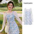 Fashion suit Summer 2021 S,M,L,XL Blue suspender skirt, white sunscreen T-shirt 18-25 years old cotton
