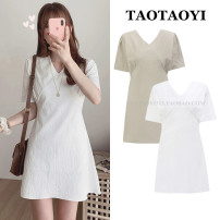Dress Summer 2021 Apricot, white S,M,L,XL Short skirt singleton  Short sleeve commute V-neck High waist Solid color zipper A-line skirt routine Others 18-24 years old Type A Other / other Korean version Bowknot, lace up, stitching, bandage, zipper 51% (inclusive) - 70% (inclusive) cotton