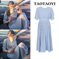 Dress Summer 2021 blue S,M,L,XL Mid length dress singleton  Short sleeve commute Crew neck High waist Solid color zipper Pleated skirt routine Others 25-29 years old Type A Korean version Bowknot, fold, lace, splice, strap, zipper 71% (inclusive) - 80% (inclusive)