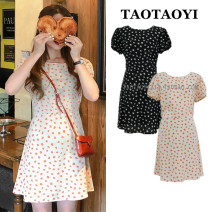 Dress Summer 2021 Apricot, black S,M,L,XL Short skirt singleton  Short sleeve commute Crew neck High waist Broken flowers zipper A-line skirt puff sleeve Others 18-24 years old Type A Korean version Bowknot, lace up, stitching, bandage, zipper, printing 71% (inclusive) - 80% (inclusive)