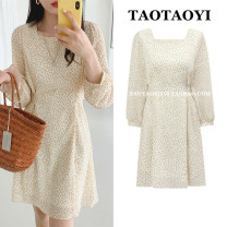 Dress Autumn 2020 Apricot S,M,L,XL Short skirt singleton  Long sleeves commute square neck High waist Broken flowers zipper A-line skirt puff sleeve Others 18-24 years old Type A Korean version Bowknot, lace, bandage, zipper, printing 71% (inclusive) - 80% (inclusive) Chiffon polyester fiber