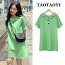 Dress Summer 2021 green S,M,L,XL Middle-skirt singleton  Short sleeve commute Polo collar Loose waist Solid color Single breasted A-line skirt shirt sleeve Others 18-24 years old Type H Korean version Button, button More than 95% other cotton