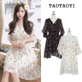 Dress Summer 2021 Apricot, black S,M,L,XL Mid length dress singleton  Short sleeve commute V-neck High waist Broken flowers Socket A-line skirt Lotus leaf sleeve Others 18-24 years old Type A Other / other Korean version Ruffles, stitching, printing 51% (inclusive) - 70% (inclusive) Chiffon other