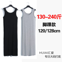 Women's large Summer of 2019 Gray (120cm), black (120cm), black (128cm), gray (128cm) Large XL, 5x, 4x, 3x, 2x Dress street Solid color modal  Huiai 25-29 years old longuette