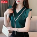 Lace / Chiffon Summer 2020 White, black, dark green, skirt (black), collect and give gifts S,M,L,XL,2XL Sleeveless commute Socket singleton  Straight cylinder Regular V-neck Solid color other tassels Korean version 96% and above polyester fiber
