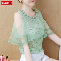 Lace / Chiffon Spring 2020 Green, blue, pink, skirt (black) S,M,L,XL,2XL Short sleeve commute Socket singleton  Self cultivation Crew neck Solid color routine Other / other