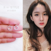 Ear Studs Synthetic cubic zirconia / water drill 30-39.99 yuan Other / other Model rose gold-925 silver needle silver-925 silver needle brand new Japan and South Korea female goods in stock Online gathering features Gold Plated inlaid artificial gem / semi gem other