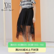 skirt Summer 2021 32/150/XS 34/155/S 36/160/M 38/165/L 40/170/XL black Middle-skirt grace High waist Irregular Solid color Type A 30-34 years old XG203010A290 More than 95% XG / snow song polyester fiber Nail bead bright silk Polyester 100%