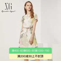 Dress Summer 2021 A flower 32/150/XS 34/155/S 36/160/M 38/165/L 40/170/XL Mid length dress singleton  Short sleeve commute Crew neck middle-waisted Socket A-line skirt routine 30-34 years old Type A XG / snow song lady Lace printing XG204064B793 More than 95% other nylon Polyamide fiber (nylon) 100%