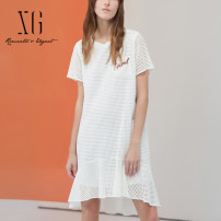Dress Summer 2021 white 32/150/XS 34/155/S 36/160/M 38/165/L 40/170/XL Middle-skirt singleton  Short sleeve commute Crew neck middle-waisted Socket Ruffle Skirt routine 30-34 years old Type A XG / snow song lady Cut out pocket sequins XG204045A651 More than 95% other cotton Cotton 100%