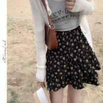 skirt Summer 2021 S,M,L black Short skirt commute High waist A-line skirt Broken flowers Type A 18-24 years old M210404 More than 95% other Korean version