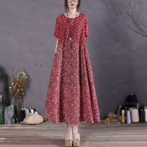 Dress Spring 2021 Red, Navy, geometry Average size Mid length dress singleton  Short sleeve commute Crew neck Loose waist Decor Socket A-line skirt Type A The spare time literature printing 51% (inclusive) - 70% (inclusive) cotton