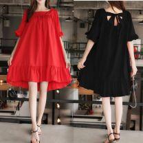 Dress Black, red 40. XXL, XXXL, increase XXXL Korean version Short sleeve Medium length summer One word collar Solid color Pure cotton (95% and above)