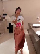 skirt Spring 2020 XS,S,M,L Rose Pink Mid length dress