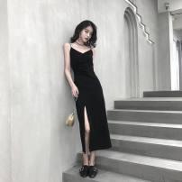 Dress Summer 2020 black S,M,L,XL,2XL longuette singleton  Sleeveless backless E