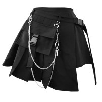 skirt Spring of 2019 S (for 80-110 kg), m (for 110-130 kg), l (for 130-160 kg) Black pleated skirt pants two-piece set send pants chain, Blue Plaid pleated skirt pants two-piece set send pants chain Short skirt Versatile High waist Pleated skirt Solid color Type A 18-24 years old More than 95% nylon