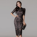 Dress Spring 2021 black S,M,L,XL Middle-skirt singleton  commute Crew neck High waist Solid color zipper Pencil skirt 18-24 years old Type X Korean version
