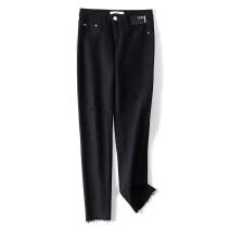 Jeans Summer 2021 black S,M,L,XL Ninth pants Natural waist Pencil pants Thin money 25-29 years old Old, worn, washed, zipper, button, patch, multi pocket Cotton elastic denim Dark color 2021-04-07-18 81% (inclusive) - 90% (inclusive)