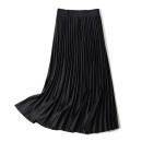 skirt Spring 2021 S,M,L black Mid length dress Versatile Natural waist Pleated skirt Solid color Type A 25-29 years old More than 95% other polyester fiber Stitching, folding