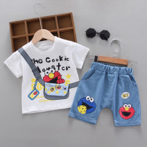 suit Other / other 73cm,80cm,90cm,100cm,110cm,120cm neutral summer leisure time Short sleeve + pants 2 pieces Thin money No model Socket nothing Cartoon animation cotton children Expression of love Class A Cotton 95% other 5% Chinese Mainland