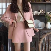 Fashion suit Autumn 2020 XS,S,M,L,XL Cherry powder (coat + skirt) and black (coat + skirt) are all available in stock, which will be sent out on the same day 18-25 years old Other / other