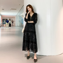 Women's large Spring 2021 black Big XL, big XXL, big XXL, big XXXXL, big XXXXL, big L, M Dress singleton  Sweet Self cultivation moderate Socket Long sleeves V-neck 25-29 years old Lace stitching longuette