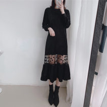 Women's large Spring 2021 black Large XL, large L, s, 2XL, 3XL, 4XL, 5XL, M Dress singleton  commute Straight cylinder Socket Long sleeves Solid color Crew neck other 25-29 years old Gauze longuette other