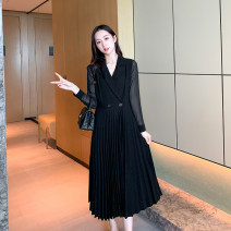 Women's large Spring 2021 black Large XL, large XXL, large XXL, large XXXXL, large XXXXL, large L singleton  Sweet moderate Cardigan Long sleeves fold shirt sleeve 25-29 years old longuette Pleated skirt