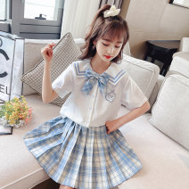 suit Other / other 110cm,120cm,130cm,140cm,150cm,160cm,170cm female summer college Short sleeve + skirt Multi piece set routine There are models in the real shooting Single breasted nothing lattice cotton children Class B Other 100% 2, 3, 4, 5, 6, 7, 8, 9, 10, 11, 12, 13, 14 years old