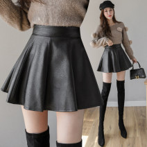 skirt Winter 2020 S,M,L,XL,2XL Black leather skirt, black tweed, grey tweed Short skirt commute High waist A-line skirt Solid color Type A 18-24 years old Zipper, worn, strap, thread, tridimensional decoration, lace up Korean version
