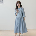 Dress Nuochu's favorite Light blue_ Source pleated Auricularia auricula collar Average size Korean version Long sleeves Medium length spring stand collar Solid color Pure cotton (95% and above)