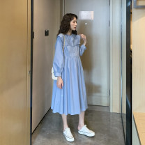 Dress Nuochu's favorite Fresh blue_ Pleated and striped shawl collar [long sleeve, fresh blue]_ Pleated and striped shawl collar [short sleeve] M,L,XL,XXL Korean version Long sleeves Medium length spring Crew neck Solid color cotton