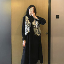 Dress Nuochu's favorite M,L,XL Korean version Long sleeves have more cash than can be accounted for spring Crew neck Solid color