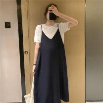 suit Nuochu's favorite Blue sling + white knitted T, blue sling + blue lattice, blue sling, white knitted T Average size Korean version Short sleeve + skirt summer Thin money Solid color