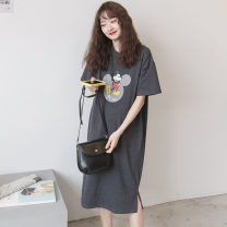 T-shirt Crew neck Average size Nuochu's favorite Short sleeve summer Korean version have more cash than can be accounted for Cartoon animation routine Pure cotton (95% and above)